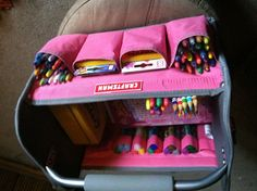 Great Christmas gift for any kid who LOVES to color! All you need is a tool caddy, coloring books, crayons, colored pencils, glitter glue, etc! This pink Craftsman tool caddy was $12.99 at Kmart, I got coloring books and construction paper from the dollar store, and all the Crayola coloring utensils came from Target!