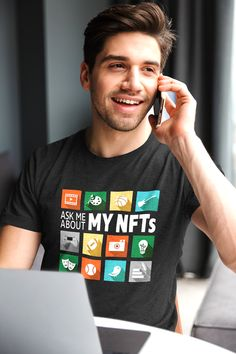 """""""Ask Me About My NFTs."""" This is your chance to tell everyone about your skill and enthusiasm for non-fungible token investing. #redbubble #findyourthing #nfts #nonfungibletokens #blockchain #blockchaintechnology #cryptocurrency #crypto #shirts #tshirts Cute Tshirts, Cool Shirts, Quirky T Shirts, Clean Jokes, Ask Me, Funny Tees, Shirt Shop, Etsy Handmade, Blockchain"""