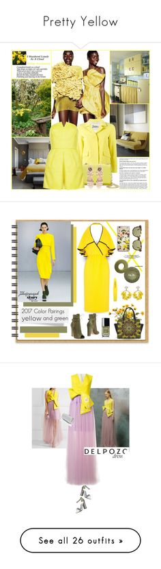 """""""Pretty Yellow"""" by watereverysunday ❤ liked on Polyvore featuring Herno, Vince Camuto, Topshop, Paula Cademartori, Elie Saab, Victoria Beckham, Chanel, VANINA, Mollie Parnis and yellowdress"""
