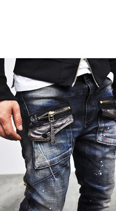 Bottoms :: Jeans :: Edge Zippered Cargo Baggy Skinny-Jeans 93 - Mens Fashion Clothing For An Attractive Guy Look Gq Style, Men Style Tips, Bad Fashion, Mens Fashion, Men Street, Street Wear, Men's Jeans, Skinny Jeans, Apocalypse Fashion