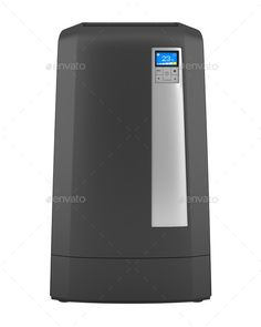 Modern black standing air conditioner. http://photodune.net/item/modern-black-standing-air-conditioner-isolated-on-white-background/9779518