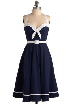 navy & white summer dress