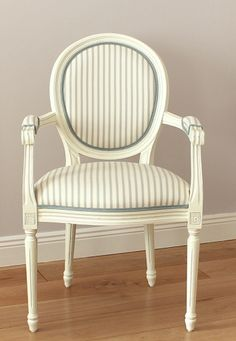 La Vie En Rose   French Off White Chair With Ian Mankin Ticking