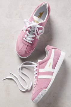 Slide View: 1: Gola Dusty Pink Suede Sneakers
