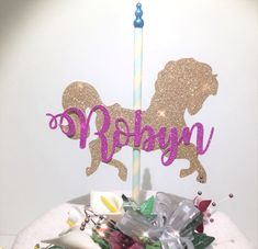 Glitter Cake topper Carousel Horse & Name 💖 matching cupcake topper Available
