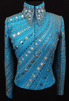 Turquoise Beaded Western Pleasure Jacket by Juhlz ~ Just Peachy Equestrian Outfits, Western Outfits, Western Wear, Western Show Shirts, Western Show Clothes, Horse Riding Clothes, Horse Show Clothes, Showmanship Jacket, Show Jackets