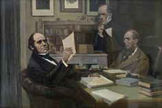 BBC - Your Paintings - Charles Darwin (1809–1882), with Sir Charles Lyell (1797–1875), and Joseph Dalton Hooker (1817–1911) by Victor Eustaphieff
