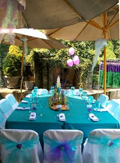 mermaid party bows and centerpieces