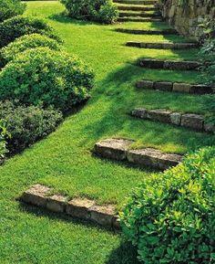 Marches en pierres dans pelouse                                                                                                                                                                                 Plus