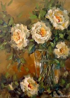Day 22 Antique White Roses by Floral Artist Nancy Medina, painting by artist Nancy Medina