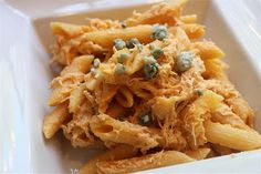 Slow cooker buffalo chicken mac!  I've made this and it's so yummy.  Top with a little blue cheese dressing.  Totally satisfies my craving for wings.  I like to use mini shells or elbows for the pasta.