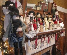 feature snowman shelf -do this instead of spreading them throughout the house.