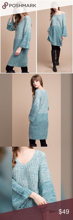 Warm and cozy sweater dress! Color is stunning! 100% ACRYLIC. COLORBLOCK MARLED KNIT V-NECK SWEATER TUNIC DRESS. Dresses