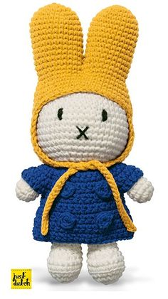 Miffy handmade crochet and her blue jacket and yellow cap, cotton, 25 cm. Buy this Miffy miffy handmade blue jacket yellow cap today! Crochet Bunny Pattern, Granny Square Crochet Pattern, Crochet Baby, Knit Crochet, Crochet Patterns, Miffy, Toys For Boys, Softies, Hello Kitty