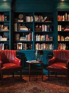 [I love the high gloss paint!] Find cozy libraries that are inviting and warm, from spaces with dark walls and rows of floor-to-ceiling books to eclectic rooms with global decor. Home Library Design, House Design, Design Desk, Cozy Library, Dream Library, Library Wall, Library Books, Global Decor, Home Libraries