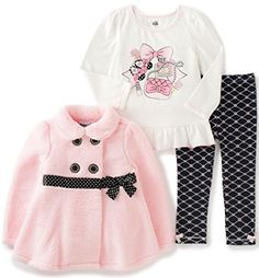 Kids Headquarters Baby 3 Pieces Winter Sherpa Jacket with Bow Pants Set Pink 24 Months