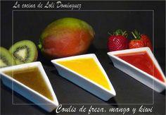 Coulis de fresa, mango y kiwi