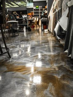 bronze and silver metallic epoxy floor