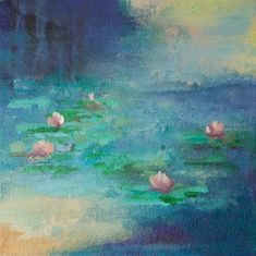 Pond by Karen Hale. A small original modern impressionist abstract of a pond with lilies can hang or sit on a shelf.