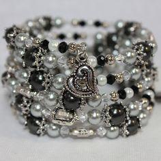 Memory Wire Beaded Bracelet Wrist Wrap by MadMamaJewelryDesign, $30.00