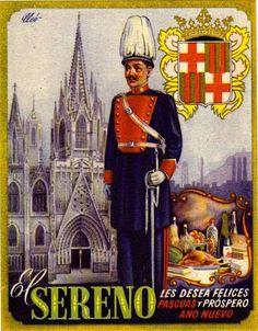 postal con el escudo de Barcelona y la Catedral al fondo