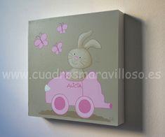 Cuadros infantiles de conejitos y ositos, pintados sobre lienzo y bastidor 3D. Se envían a toda España.