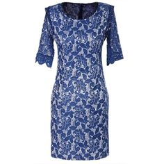 Amazon.com: Hee Grand Women Half-Sleeve Lace Dress Blue: Clothing