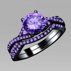 Purple Cubic Zirconia Black Women's Wedding Ring Set 925 Sterling Silver