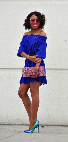 Now this is the epitome of sexy! A perforated off should dress, blue hologram heels, and pop of pink leopard purse. Summer fashion   Fashion blogger   Summer style   Summer outfit   Cute casual dresses   Spring fashion   Alaska   Summer looks   Summer hair   Street Style  