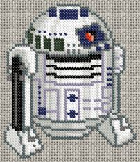 In case my daughter ever learns to cross-stitch. Cross Stitching, Cross Stitch Embroidery, Cross Stitch Patterns, Perler Bead Designs, R2d2, Stitch Character, Diy Broderie, Star Wars Crafts, 8bit Art