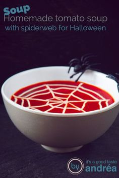 This creamy tomato soup with meatballs recipe is homemade and easy to prepare. And for Halloween decoration add a sour cream spider web. And only 6 ingredients #Halloween #tomatosoup #recipe #spiderweb #balls #homemade