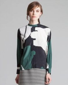 Women's Marni Printed Back-Button Mandarin-Collar Blouse, Emerald by MARNI