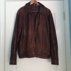 Men's Authentic Leather Jacket authentic leather jacket. Barely Worn and in great condition. Size Medium Charter Club Jackets & Coats Bomber & Varsity