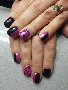 Black gel with embossed pink liquid metal gel polish