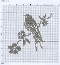 Nice effect, the flowers in white, everything else in gray - - - Luli grille oiseau fleur de cerisier - Pic 2: chart