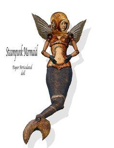 Steampunk paper Doll DIY  instant print Mermaid paper craft