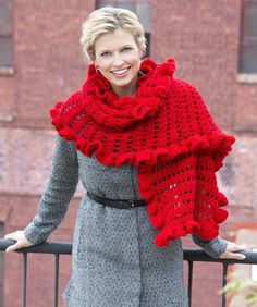 Ruffled Wrap Crochet Pattern  #redheartyarns  #crochet