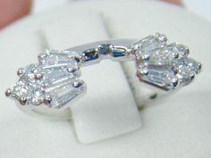 14K WHITE GOLD BAGUETTE DIAMOND WEDDING WRAP GUARD ENHANCER 1/2 CTTW BAND SZ 5.5…