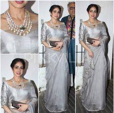 Bollywood actress sridevi at Diwali party in saree ask more information call whats app 9214873512 Sari Design, Sari Blouse Designs, Fancy Blouse Designs, Saree Blouse Patterns, Dress Designs, Trendy Sarees, Fancy Sarees, Indian Dresses, Indian Outfits