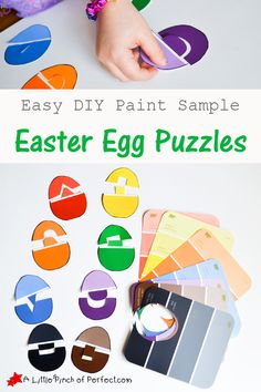 Easy DIY Easter Egg Puzzles with Paint Samples are a great activity for kids in preschool! | A Little Pinch of Perfect