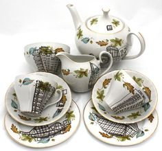 Tea Set for Two Upcycled Hand Illustrated SALE by EstherCoombs, £150.00