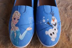 Hand Painted Shoes Frozen Elsa and Olaf by cindystyle on Etsy
