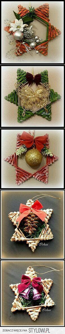Stroiki gwiazdy. Noel Christmas, Diy Christmas Ornaments, All Things Christmas, Winter Christmas, Christmas Wreaths, Christmas Decorations, Christmas Projects, Holiday Crafts, Magazine Crafts