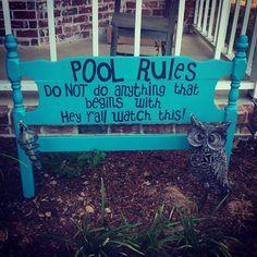 Garage sale find headboard redo, some paint and a Cricut! #lovejunkin #Padgram pool backyard welcome sign