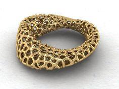 3D Printed Voronoi Script Mobius Bracelet _Designed by nauseum…