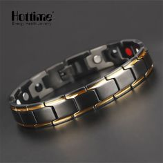 Hottime Luxury Fashion Health Energy Bracelet Bangle Men 316L Stainless Steel Bio Magnetic Bracelets Black & Gold Plated Jewelry