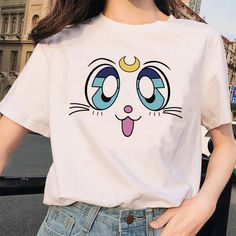 Cute Sailor Moon Women T shirts Harajuku clothes Kawaii Anime cat Printed Short Sleeve Casual korean style Ullzang clothes Sailor Moon Costume, Sailor Moon Shirt, Sailor Moon Outfit, Sailor Moon Clothes, Anime T Shirts, Style Kawaii, Harajuku, Vetements T Shirt, Casual Tops For Women
