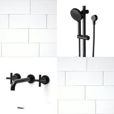 """Bathroom theme: white subway tiles (with white grout), black Phoenix """"vivid"""" single shower rail and Brodware """"city plus"""" tapware and spout (for bath and basin)"""