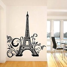 Tall Eiffel Tower Wall Decal Huge Paris City Sticker Decor Wall Sayings  Decal Vinyl Wall Art Words Vinyl Lettering  Size X