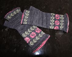 Wild Rose Mitts pattern by Deborah Kemball | malabrigo Sock in Eggplant, Lights of Love and Lettuce